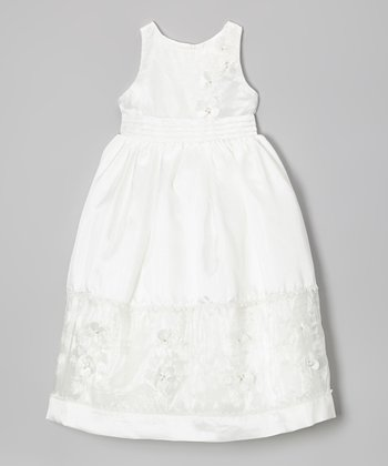 White Flutter Flowers Dress - Girls