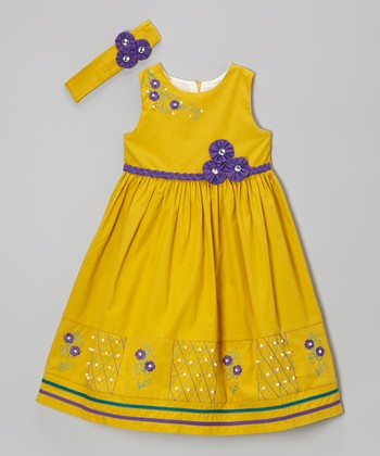 Deep Yellow & Purple Rosette Dress & Headband - Girls