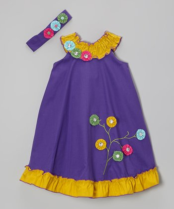 Dark Purple Flowers Swing Dress & Headband - Infant
