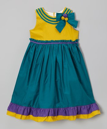 Jade & Yellow Ruffle Bow Dress - Girls