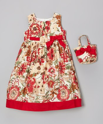 Deep Red Floral Pleated Dress & Purse - Infant & Girls