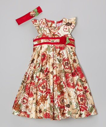 Deep Red Rosette Bubble Dress & Headband - Girls