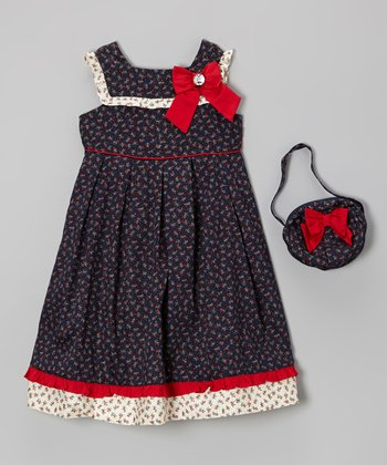 Navy Floral Bow Dress & Purse - Infant, Toddler & Girls