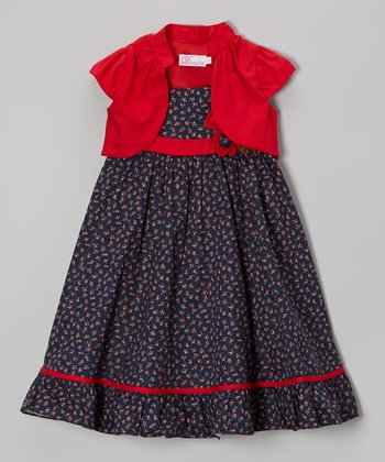 Navy Floral Babydoll Dress & Shrug - Toddler & Girls