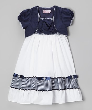 White & Navy Gingham Stripe Dress & Shrug - Toddler & Girls