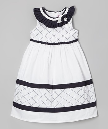 White & Navy Lattice Rosette Dress - Toddler