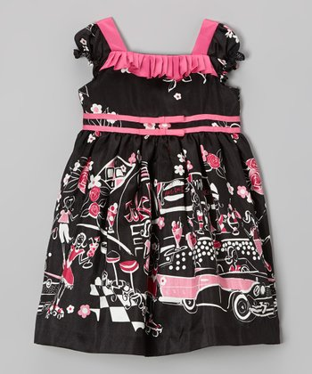Black Paris Scene Puff-Sleeve Dress - Infant, Toddler & Girls