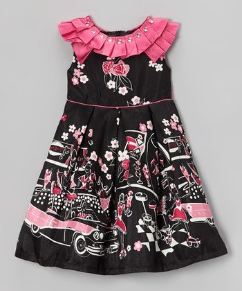 Black Paris Scene Pleated Yoke Dress - Girls