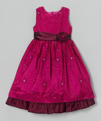 Fuchsia Embroidered Rosette Dress - Infant, Toddler & Girls