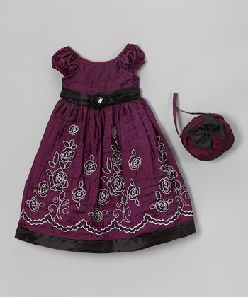 Deep Lilac Embroidered Dress & Purse - Infant, Toddler & Girls