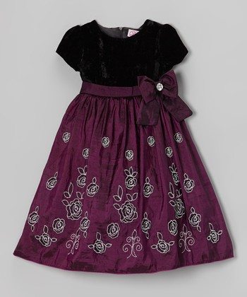 Deep Lilac & Black Embroidered Bow Dress - Infant
