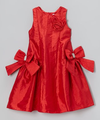 Red Rosette Bow Princess Dress - Girls