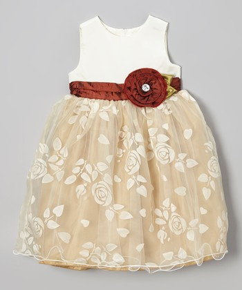 Dark Ivory & Burgundy Rose Dress - Iinfant, Toddler & Girls