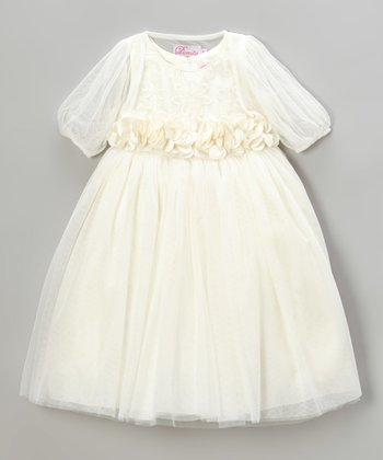Dark Ivory Petal Sheer-Sleeve Dress - Toddler & Girls
