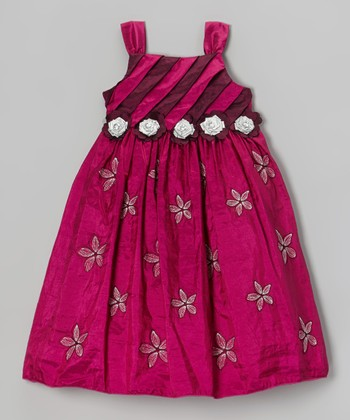 Fuchsia Stripe Pleated Bodice Dress - Toddler & Girls