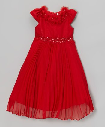 Red Sparkle Waist Pleated Dress - Girls