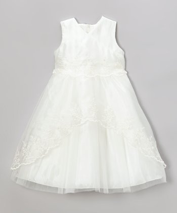Ivory Embroidered Organza Surplice Dress - Toddler & Girls