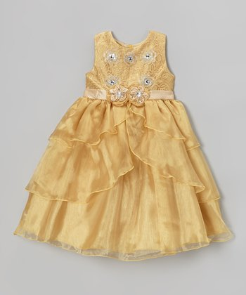 Gold Tiered Organza Sleeveless Dress - Girls