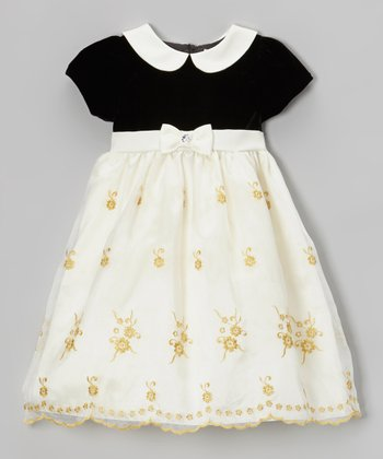 Black & Dark Ivory Peter Pan Collar Bow Dress - Infant & Toddler