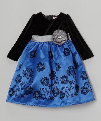 Black & Dark Blue Embroidered Dress - Infant & Toddler