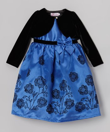 Black & Dark Blue Embroidered Dress & Shrug - Toddler & Girls