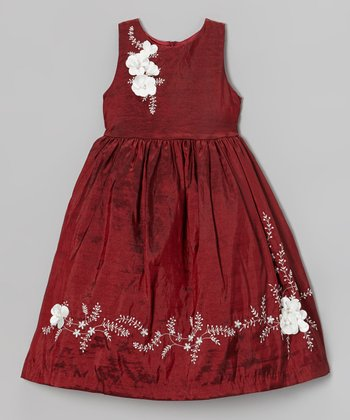 Wine Floral Embroidered Dress - Toddler & Girls