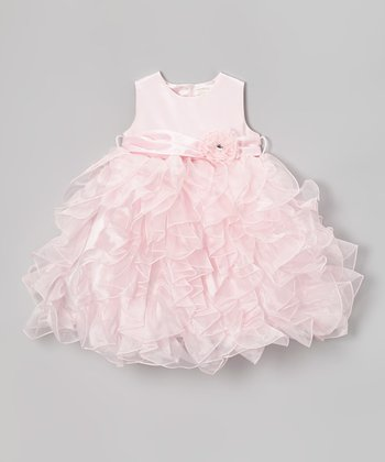 Light Pink Ruffle Cascade Dress - Toddler & Girls