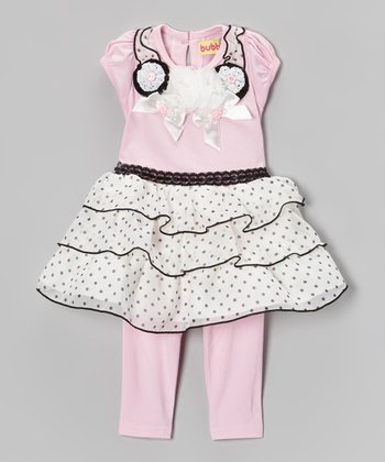 Pink Rosette Ruffle Dress & Leggings - Infant & Toddler