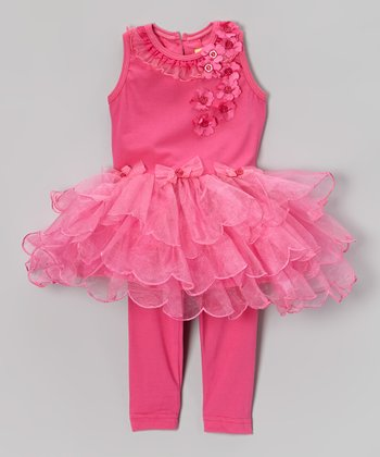 Fuchsia Tiered Scallop Dress & Leggings - Infant & Toddler