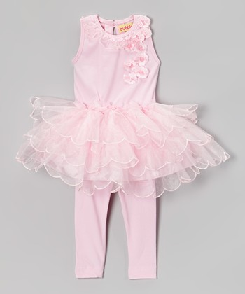 Pink Tiered Tutu Dress & Leggings - Infant & Toddler