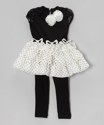 Black Polka Dot Ruffle Dress & Leggings - Infant, Toddler & Girls