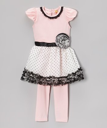 Pink Polka Dot Ruffle Dress & Leggings - Infant, Toddler & Girls