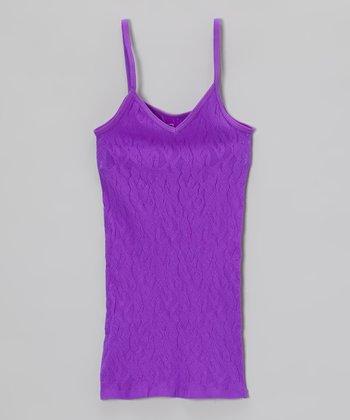 Malibu Sugar Neon Purple Lace Camisole - Girls