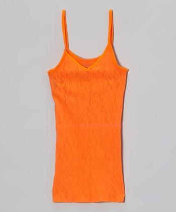 Malibu Sugar Neon Orange Lace Camisole - Girls
