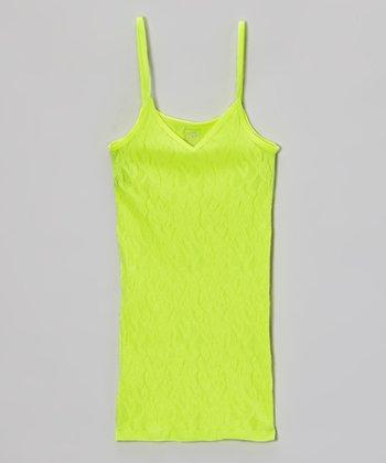 Malibu Sugar Neon Yellow Lace Camisole - Girls