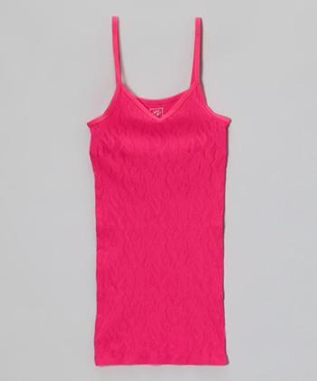Malibu Sugar Neon Fuchsia Lace Camisole - Girls