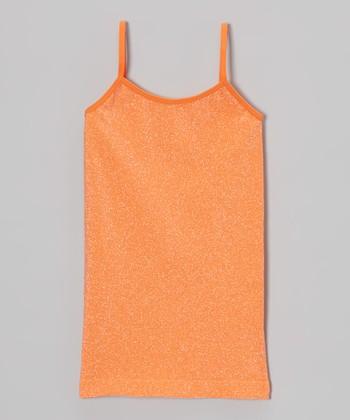 Malibu Sugar Neon Orange Metallic Camisole - Girls