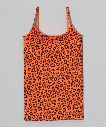 Malibu Sugar Neon Orange Leopard Camisole - Girls