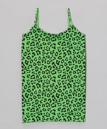 Malibu Sugar Neon Green Leopard Camisole - Girls