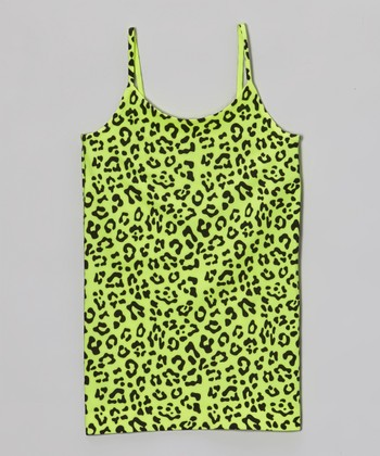 Malibu Sugar Neon Yellow Leopard Camisole - Girls