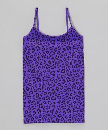 Malibu Sugar Neon Purple Leopard Camisole - Girls