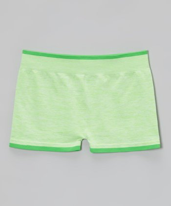 Malibu Sugar Heather Neon Green Shorts - Girls