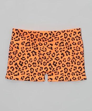 Malibu Sugar Neon Orange Leopard Shorts - Girls