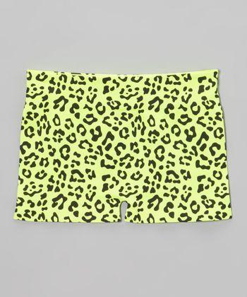 Malibu Sugar Neon Yellow Leopard Shorts - Girls
