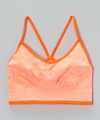 Malibu Sugar Heather Neon Orange Sports Bra - Girls