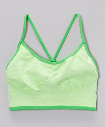 Malibu Sugar Heather Neon Green Sports Bra - Girls