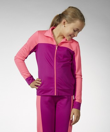 Neon Purple Track Jacket - Girls