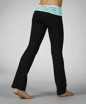 Aruba Blue 'Love' Fold-Over Yoga Pants - Girls
