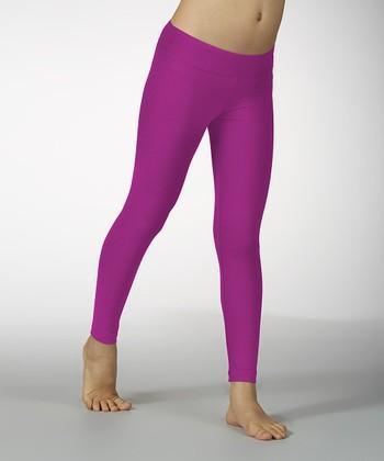 Neon Purple Sanded Dry Wik Leggings - Girls