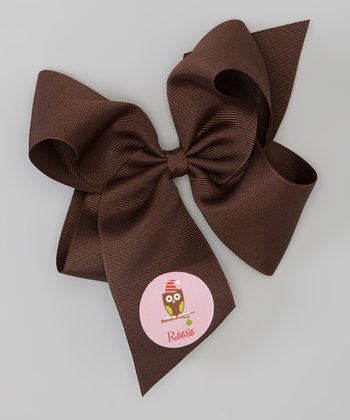 Brown Santa Owl Personalized Bow Clip